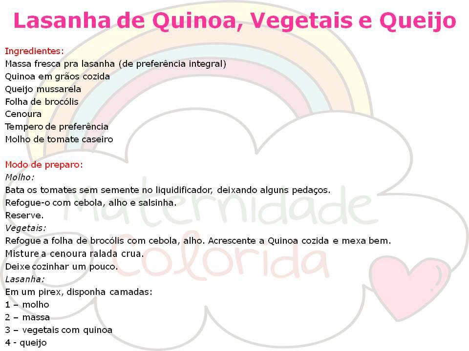 lasanha de quinua,brocolis e queijo
