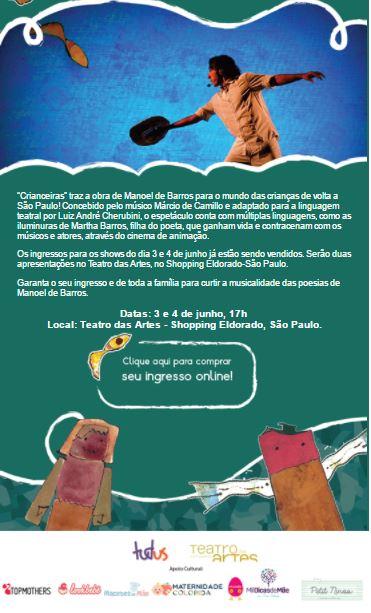 Apoio cultural: Espetáculo Crianceiras Manoel de Barros